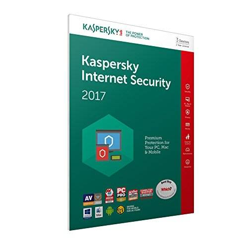 Kaspersky Lab Internet Security 2017 Base license 3usuario(s) 1año(s) Inglés - Seguridad y antivirus (3, 1 año(s), Base license, Soporte físico)
