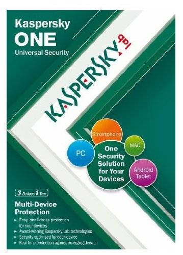 Kaspersky Lab Kaspersky One Universal Security, 3 Device, 1 Year License (PC/Mac/Android)