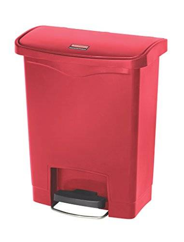 Rubbermaid Slim Jim–1883456frontal Paso Step-On Resina Papelera, 30 Litres, Red, 1