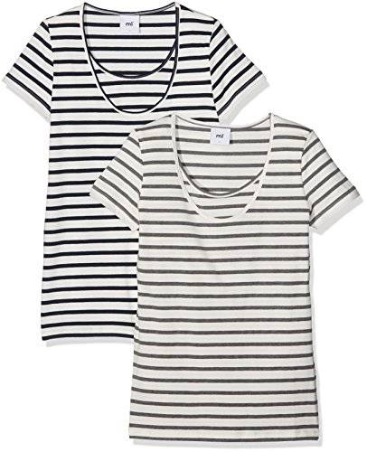 MAMALICIOUS MLLEA ORGANIC NELL S/S Y/D TOP NF 2PACK, Camisa de maternidad Mujer, Blanco (Snow White), 40 (Talla del fabricante: Large)