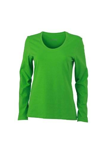James & Nicholson Langarmshirt Ladies Stretch Shirt Long Sleeve-Camisa Mujer, Verde (Lime/Green), Large (Talla del fabricante: Large)