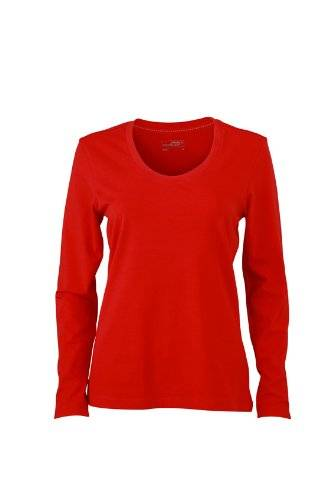 James & Nicholson Langarmshirt Ladies Stretch Shirt Long Sleeve - Camisa de maternidad Mujer, Rojo (Red), XX-Large (Talla del fabricante: XX-Large)
