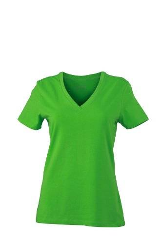 James & Nicholson T-Shirt Ladies Stretch V - Camisa de maternidad Mujer, Verde (Lime/Green), X-Large (Talla del fabricante: X-Large)