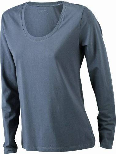 James & Nicholson Langarmshirt Ladies Stretch Shirt Long Sleeve-Camisa Mujer, Gris (charcoal), Large (Talla del fabricante: Large)