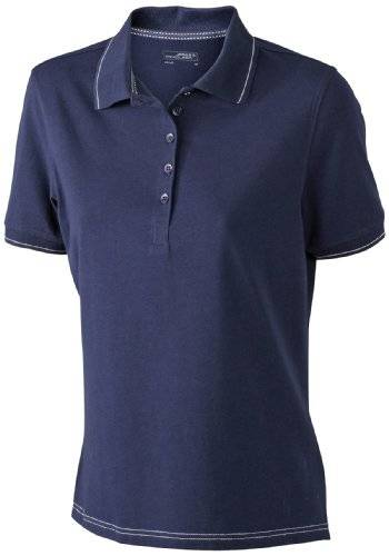 James & Nicholson Funktionspolo Elastic - Polo Mujer, Azul (navy/white), Large (Talla del fabricante: Large)