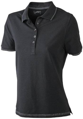James & Nicholson Funktionspolo Elastic - Polo Mujer, Negro (black/white), XX-Large (Talla del fabricante: XX-Large)