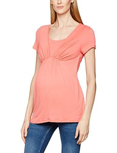 MAMALICIOUS Mladdie Nell S/s Jersey Top Nf, Camisa para Mujer, Rosa (Sunkist Coral), 36 (Talla del Fabricante: Small)