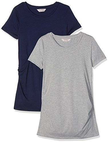 Dorothy Perkins Maternity 17340410, Camiseta Para Mujer, Multicolor (Grey/Navy), 36