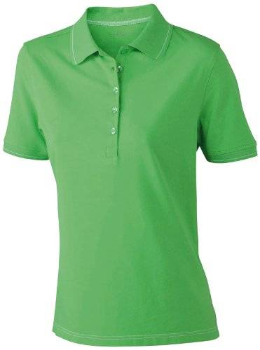 James & Nicholson Funktionspolo Elastic - Polo Mujer, Verde (lime-green/white), Large (Talla del fabricante: Large)