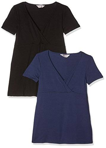 Dorothy Perkins Maternity Two Pack Nursing Set, Camiseta para Mujer, Black (Black/Navy), 40