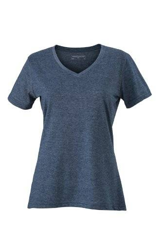 James & Nicholson T-Shirt Ladies Heather - Camisa de maternidad Mujer, Azul (Blue/Melange), Large (Talla del fabricante: Large)