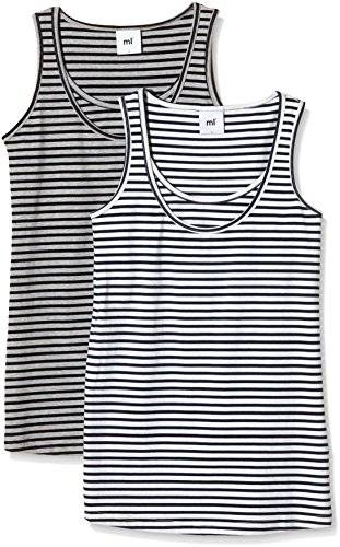 MAMALICIOUS Sofia Nell Striped 2 Pack, Tank Top para Mujer, Gris (Light Grey Melange), 40