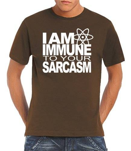Touchlines T-Shirt I AM IMMUNE TO YOUR SARCASM - Prenda, color marrón, talla S