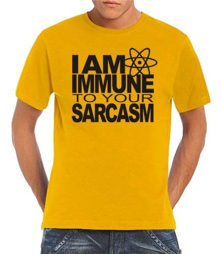 Touchlines T-Shirt I AM IMMUNE TO YOUR SARCASM - Camiseta, color negro/dorado, talla XXXXXL