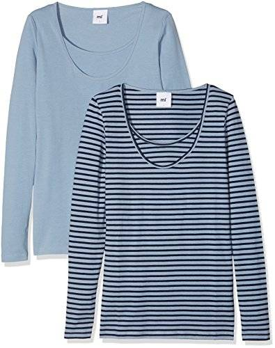 MAMALICIOUS Mllea Organic Nell L/s Mix Top Nf 2, Camiseta de Manga Larga Premamá para Mujer, Azul (Ashley Blue Pack:Ashley Blue W/Black Iris Stripes), 40 (Talla del Fabricante: Large)(Pack de 2)
