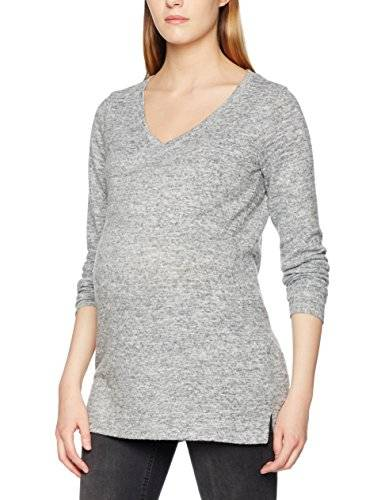 MAMALICIOUS MLLOUNGE LS KNIT BLOUSE V, Jersey premamá Mujer, Gris (Light Grey Melange), 38 (Talla del fabricante: Medium)