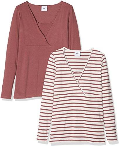 MAMALICIOUS Mllea Organic Tess Mix L/s Top Nf 2pack, Camiseta de Manga Larga Premamá para Mujer, Marrón (Rose Brown Pack:Yarn Dyed Rose Brown/Snow White), 36 (Talla del Fabricante: Small) (Pack de 2)