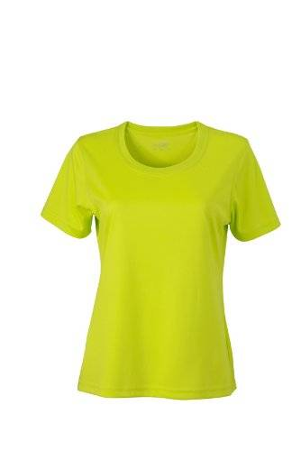 James & Nicholson Funktions T-Shirt Ladies Active - Camisa de maternidad Mujer, Amarillo (Acid/yellow), Large (Talla del fabricante: Large)