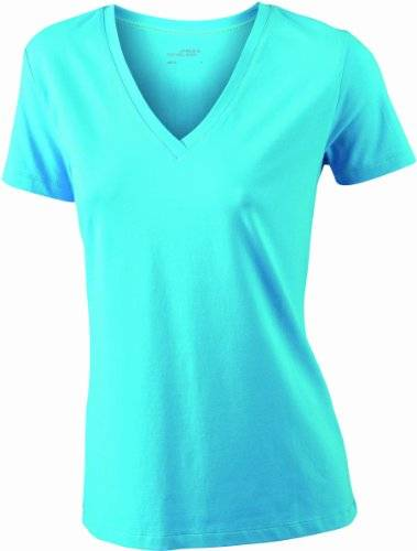 James & Nicholson T-Shirt Stretch Vee - Camisa de maternidad Mujer, Turquesa (turquoise), XX-Large (Talla del fabricante: XX-Large)