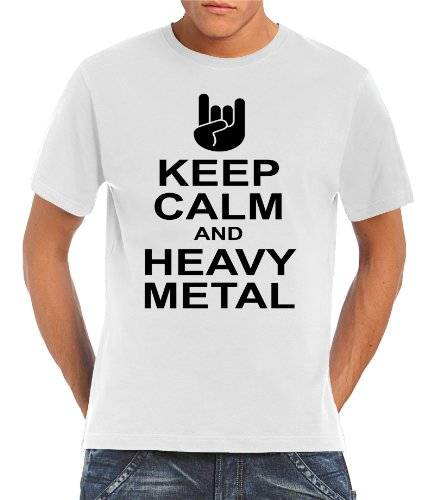 Touchlines Keep calm and heavy metal - Camiseta, color blanco roto, talla M