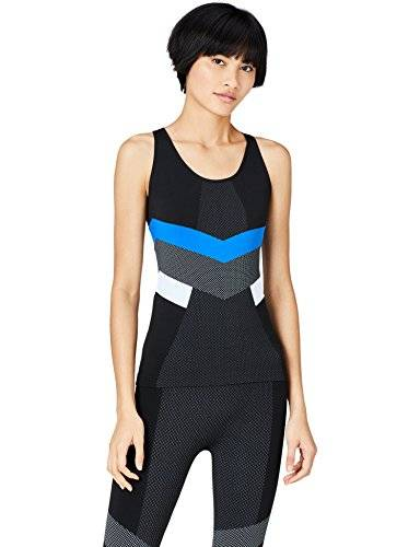 FIND Camisa Deportiva Mujer, Negro (Black/Blue/White), Small