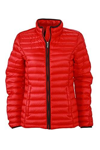 James & Nicholson Daunenjacke Ladies Quilted Down Jacket - Chaqueta técnica para mujer, color rojo / negro, talla L