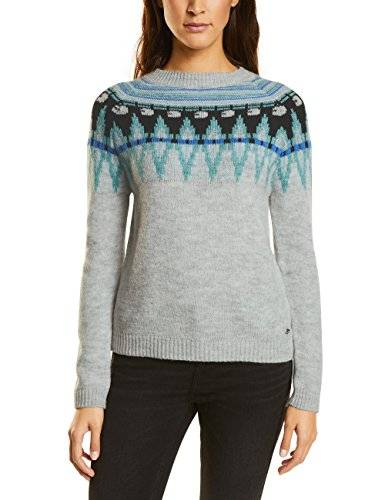 Street One Pullover with New Norwegian P Attern, Jersey para Mujer, Grau (Cyber Grey Melange 30767), 42