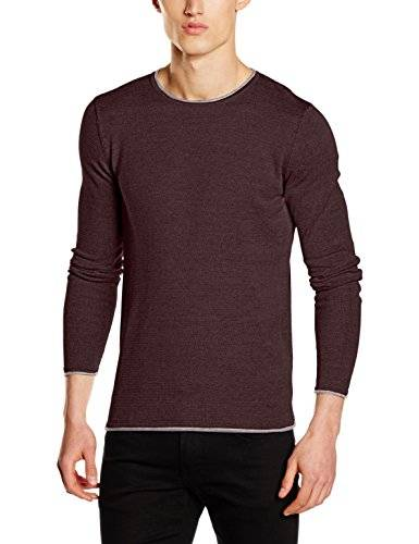 Homme SELECTED HOMME Shnklop Crew Neck Noos, Suéter para Hombre, Marrón (Fudge Detail:Ash Inside), Large