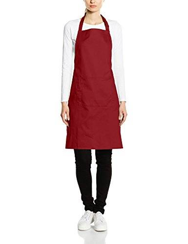 Premier Workwear Colours Bib Apron with Pocket, Top para Mujer, Rojo (Burgundy), Large