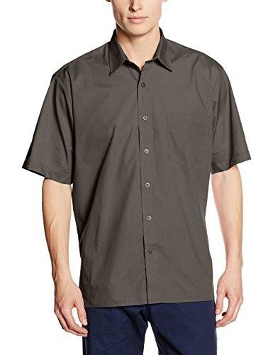 Premier Workwear Poplin Short Sleeve Shirt, Camisa Para Hombre, Gris (Dark Grey), Small