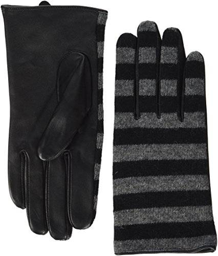 PIECES Pcjunilla Leather Wool Glove, Guantes para Mujer, Negro (Black Stripes:Mgrm Stripes), Small