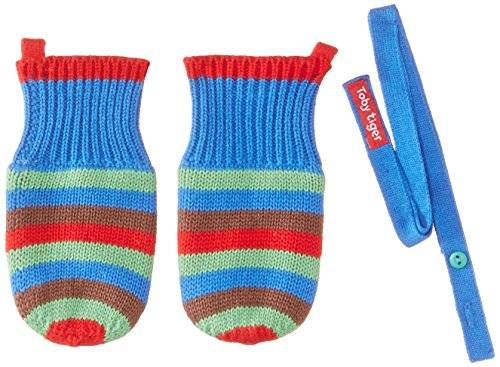 Toby Tiger Blue And Brown Stripe Knitted Mittens - Ropa para niños, color blue, talla xs