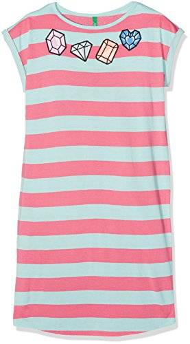 United Colors of Benetton Dress, Vestido para Niños, Multicolor (Pink/Aqua), 7-8 Años (Talla del Fabricante: Medium)