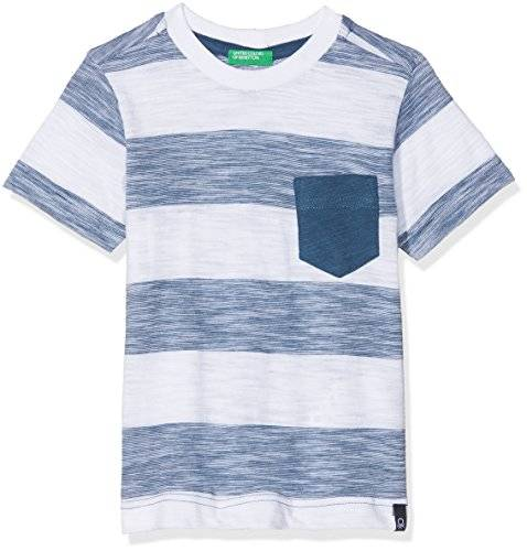 United Colors of Benetton Camiseta para Niños, Multicolor (White T-Shirt with Blue Stripes and Heart Level Small Pocket 901), Talla única (Talla del Fabricante: X-Large)
