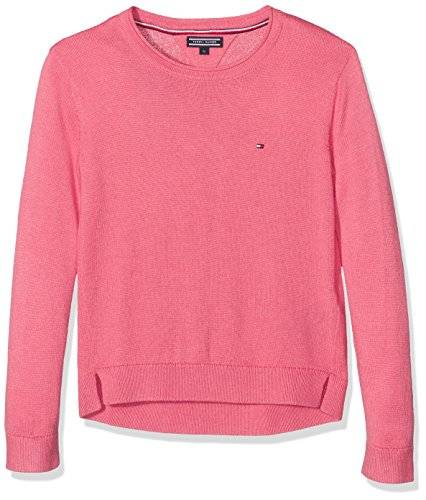 Tommy Hilfiger AME Basic Sweater, Suéter para Niñas, Rosa (Rapture Rose 699), 164 (Talla del Fabricante: 14)