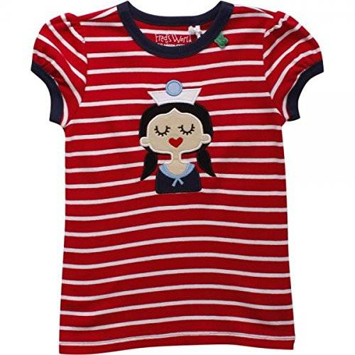Fred's World by Green Cotton Sailor Stripe T Girl, Camiseta para Niños, Rojo (Red 019176206), 128