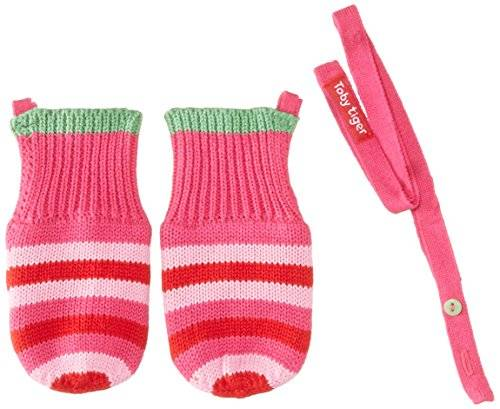 Toby Tiger Pink And Green Stripe Knitted Mittens - Ropa para niñas, color rosa, talla large