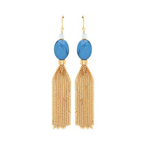 Front Row Turquoise Bead and Gold Colour Tassel Earrings