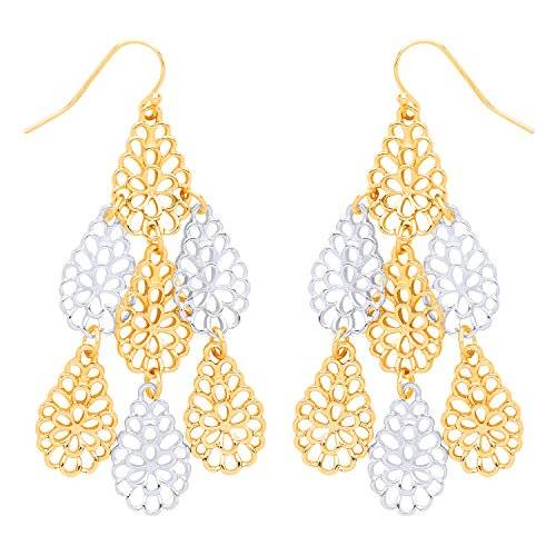 Front Row Gold and Silver Colour Pear-Shape Filigree Chandelier Earrings