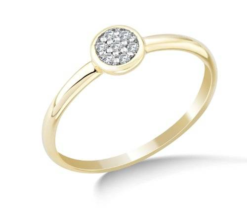 Miore MG9140R6 - Anillo de oro amarillo de 9 quilates con diamante (.09), talla 16 (17,84 mm)