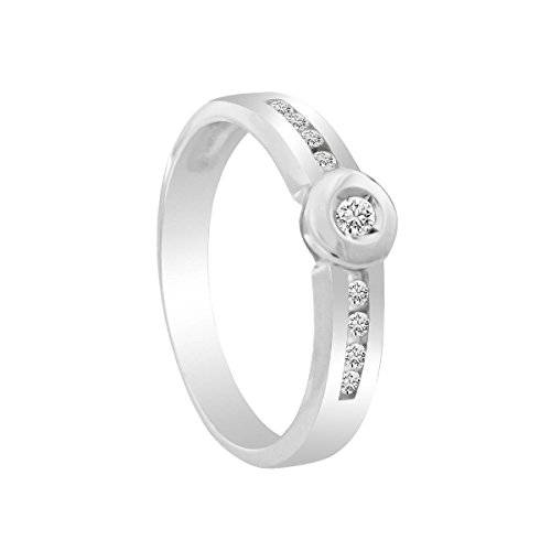 Diamond Line Bella Donna señorías-anillo Diamante brillant compromiso solicitud anillo 375 oro blanco diamante anillo (0.15 ct) Blanco corte brillante talla 54 (17.2) - 120405