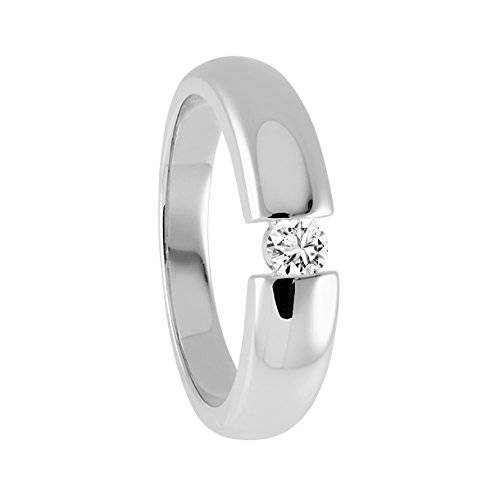 Diamond Line  - Anillo de oro blanco con diamante (.15), talla 14