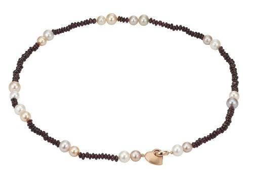 Pearl Dreams - Collar de plata de ley con granate