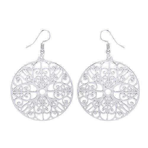 Front Row Gold Colour Round Filigree Drop Earrings