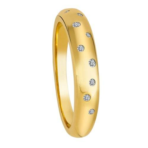 Diamond Line - Anillo de oro amarillo de 9 quilates con diamante (.1), talla 20 (19,1 mm)