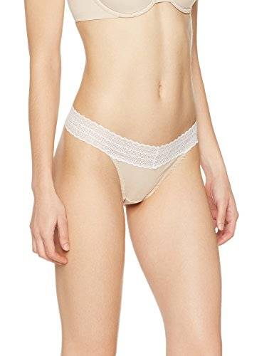 Iris & Lilly Tanga con Cintura de Encaje Cotton para Mujer, Pack de 3, Multicolor (Pale Nude/ Soft Pink/ White), Large