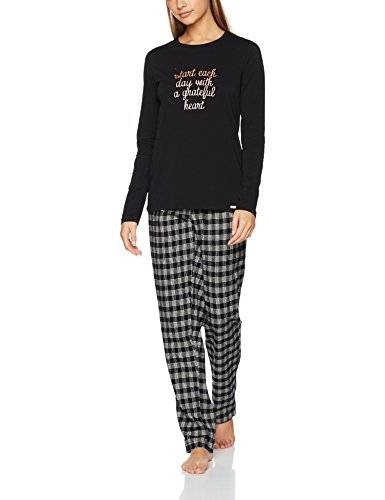 Skiny Season of Dreams Sleep Pyjama Lang, Pijama para Mujer, Mehrfarbig (Black 7665), 38