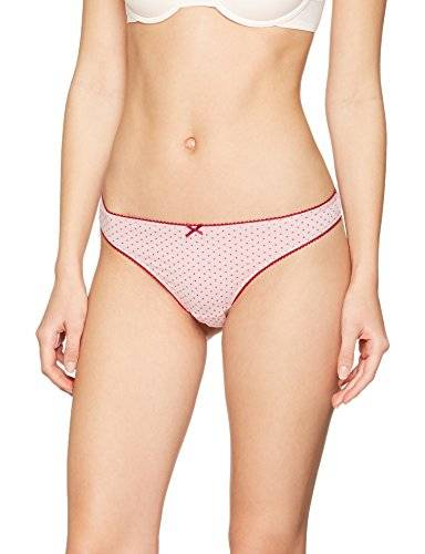 Iris & Lilly Tanga Cotton para Mujer, Pack de 3, Multicolor (Beet Red Strip/beet Red/beet Red Dot), Medium
