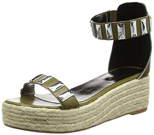 TANTRA Leather Espadrille Wedge Sandals with metallic details - Sandalias para mujer, color verde, talla 38