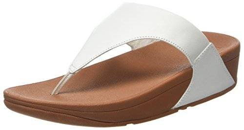Fitflop Lulu Leather Toe Post, Sandalias con Plataforma para Mujer, Blanco (White 194), 40 EU